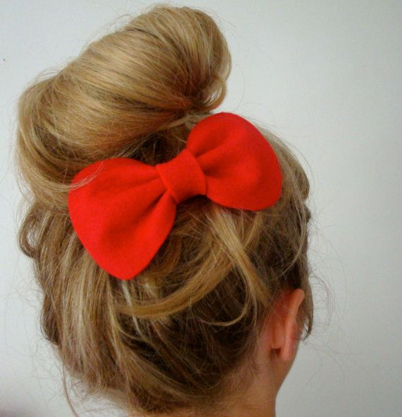 Small Betty Bow // Red Felt Hair Bow // Choose by hellobettybow