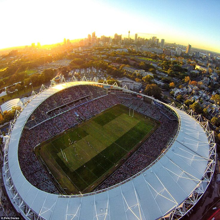 The restrictions on using drones in the public domain is reviewed every year and Davies managed to capture a great shot of NRL match on Anzac day at the Sydney Cricket Ground (above) last year before it is now prohibited to take footage of major sporting events