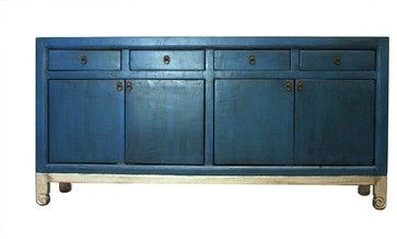 Anatole Blue and Silver 4 Door 4 Drawer Tall Sideboard - asian - Buffets And Sideboards - Madera Home