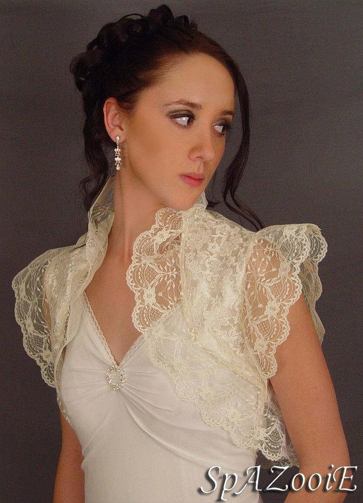 ivory lace bolero jacket wedding shrug bridal by spazooiebridal 3250