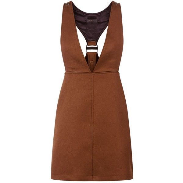 Maje Pinafore Mini Dress ($280) ❤ liked on Polyvore featuring dresses, short layered dress, short brown skirt, mini dress, wet look dress and wetlook dress