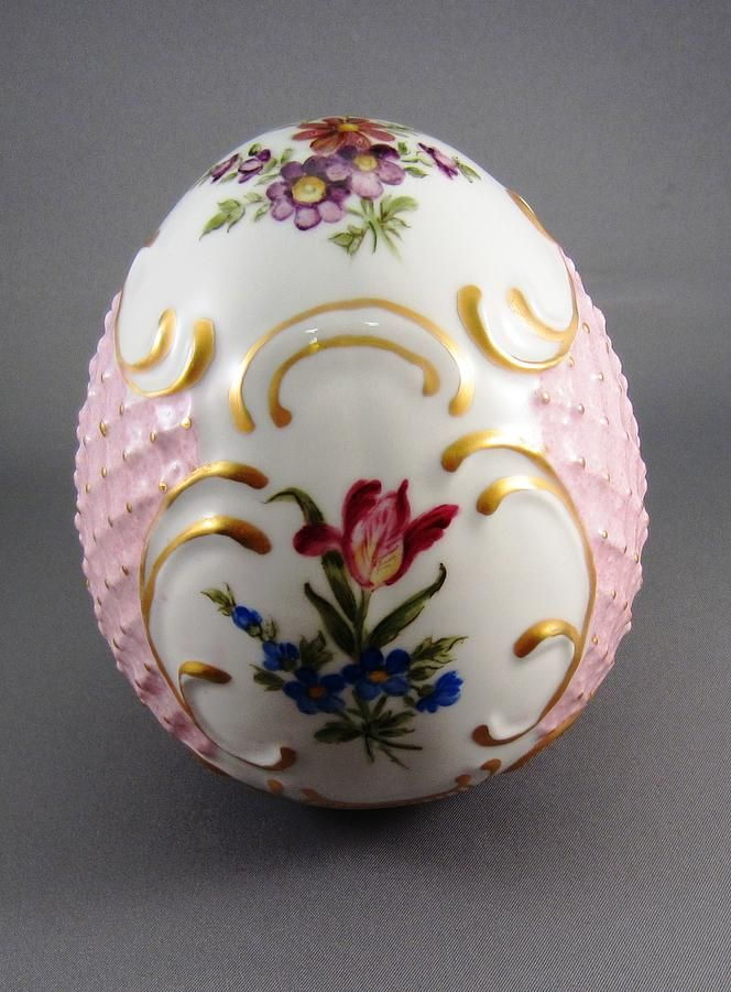 Porcelain Eggs | 1532 German Porcelain Egg Dresden Style Ceramic Art