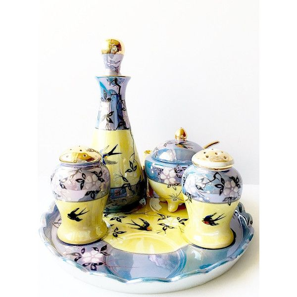 Ceramic Blue Yellow Lusterware With Bluebirds Vintage Condiment Set... (€39) ❤ liked on Polyvore featuring home, kitchen & dining and serveware