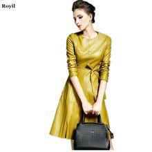Nieuwe aankomst herfst 2015 europa mode met lange mouwen effen kleur lederen vrouwen jurken, nieuwigheid merk lange jurken met riem geel(China (Mainland))