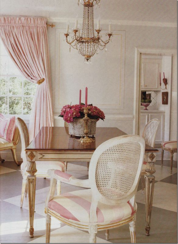 Soft Pink For The Dining Room And Striped Chairs