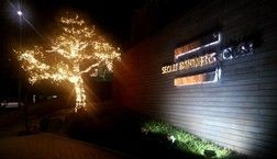 야간에 멋진 나무 조명을 켠 서울파트너스하우스의 모습