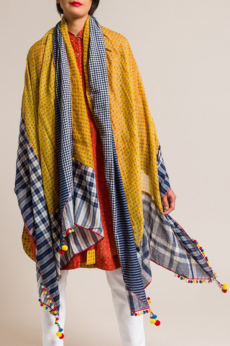 $895.00 | Péro by Aneeth Arora Large Rumal Scarf in Yellow Floral | Handmade in India
