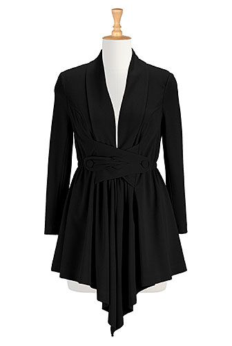 I <3 this Button-tabbed crepe knit jacket from eShakti