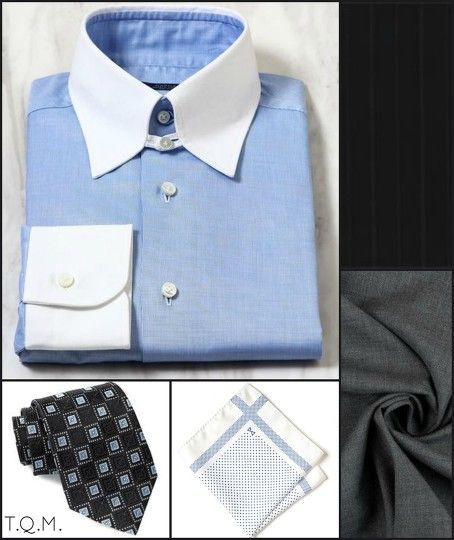 SHIRT/TIE COMBO: Strasgurgo(Shirt)-Nordstrom(Tie)-Combatant Gentlemen(Pocket Square)-Suggested Suit Colors(Black Shadow Stripe & Gray)-Suit Colors On Right Side.