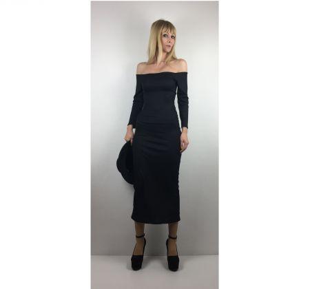 Siyah Düşük Omuzlu Uzun Elbise Black Off The Shoulder Long Dress