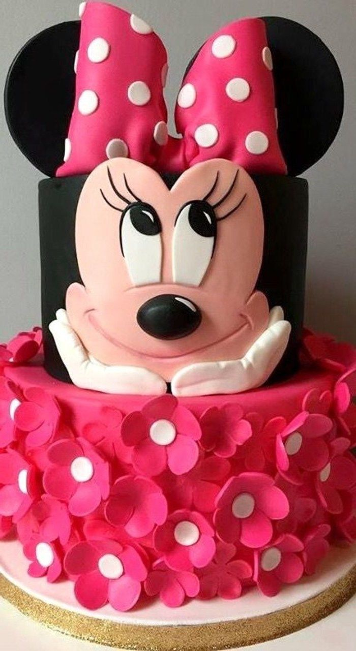 Pink Fondant Flowers Two Tier Minnie Mouse Smash Cake Pink Bow In 2020 Minnie Mouse Birthday Cakes Mini Mouse Birthday Cake Minnie Mouse Party