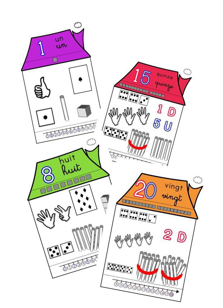 Maisons des nombres de 1 à 20 : retrouvez 20 affiches pour la classe, reprenant toutes les représentations symboliques des nombres.