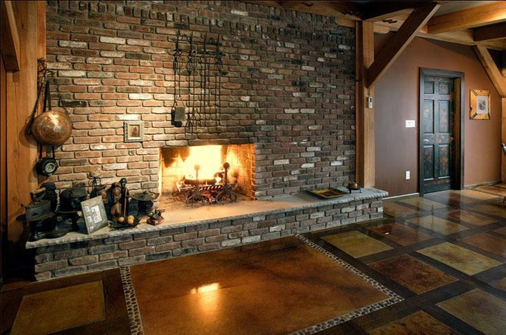 Warm and cozy kitchen with a fireplace, creates a deliciously rich and romantic ambiance