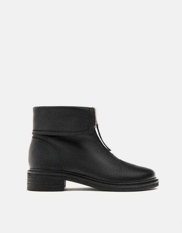 Leather ankle boots with zips - See all - Shoes - Woman - PULL&BEAR Hungary