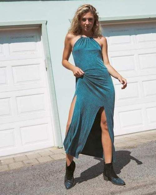 Teal Long Halter Sun Dress with High Slits