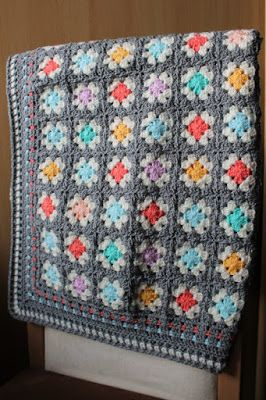 Granny Square crochet blanket, see use of gray. Made in K-town