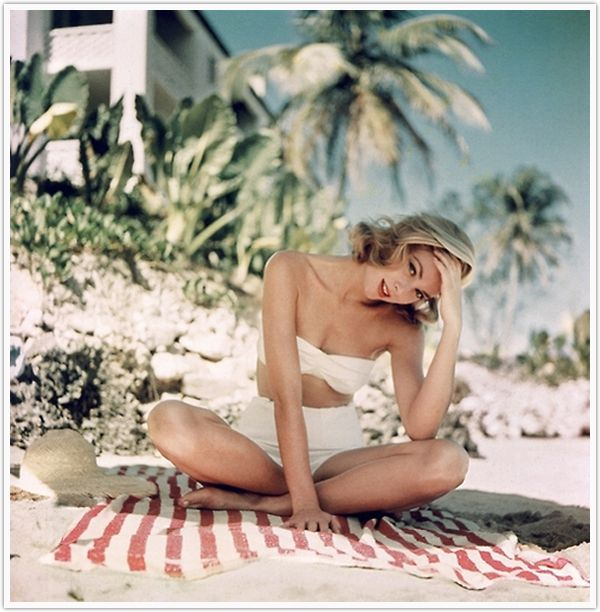 Party inspiration, beach, white bathing suit, stripped towel, grace kelly,