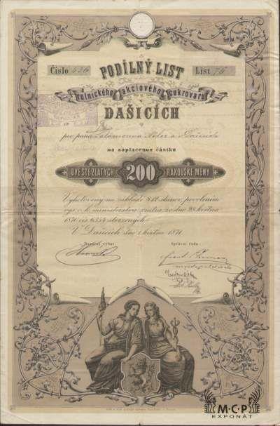 Muzeum cennych papiru A1174 Rolnický akciový cukrovar v Dašicích / Landwirtschaftliche Aktien-Zuckerfabrik in Daschitz 1871