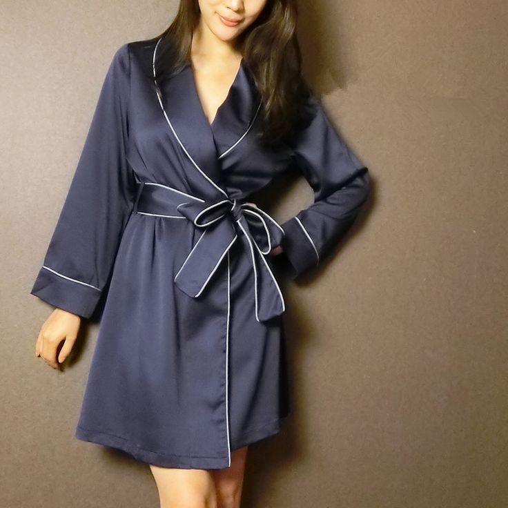 Otoño Nueva llegada bata de lujo femenino de seda atractivo del faux de satén de seda ropa de dormir camisón salón M378 en Túnicas de Ropa y Accesorios de las mujeres en AliExpress.com   Alibaba Group