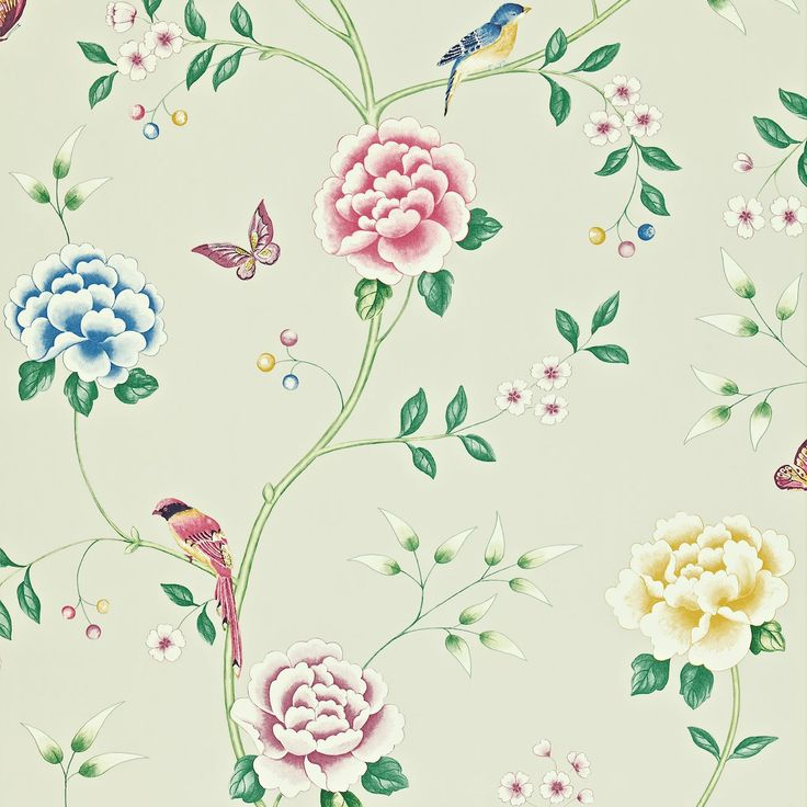 Pavilion is a beautiful, simplified interpretation of the 18th century Chinese wall coverings found in stately homes throughout England. Sanderson.  Collection: Richmond Hill Wallpapers