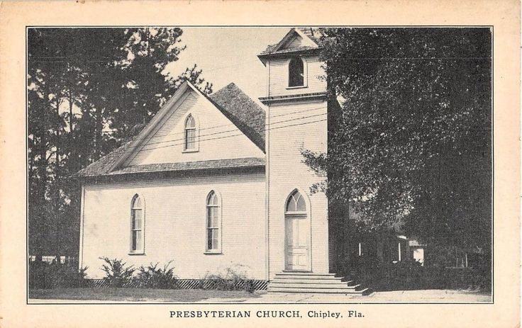 c.1920 Presbyterian Church Chipley Florida b/w post card view by Skinner Kennedy Staty. Co. Nice early church scene. Very light foxing excellent unused condition.