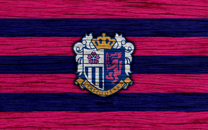Download wallpapers Cerezo Osaka, 4k, emblem, J-League, wooden texture, Japan, Cerezo Osaka FC, soccer, C-Osaka, football club, logo, FC Cerezo Osaka