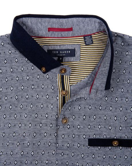 Jacquard polo - Navy | Tops & T-shirts | Ted Baker UK