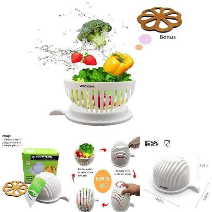 Salad Cutter Bowl Vegetables & Fruits Cutter Kitchen Bowl Salad Maker In 60 Sec. #Veecom