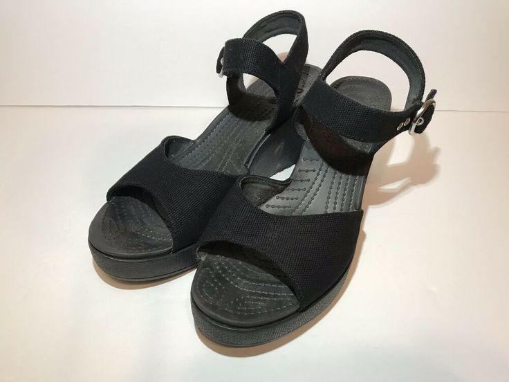 e7596a4be Crocs Wedge Heel Sandals Shoes Womens Sz 9 Black Strappy Comfort ...