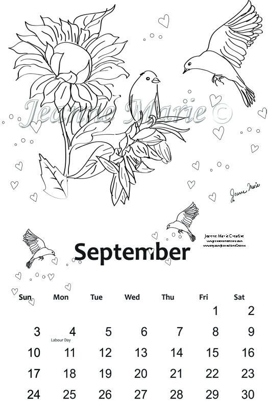 September Colouring Calendar 2017 Printable Colouring page Birds and Sunflowers Digital stamp Digi Stamp Download Page Jeanne Marie Creative by JeanneMarieCreative on Etsy