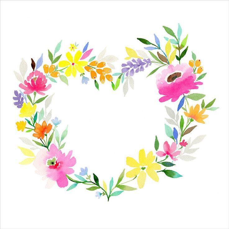 Heart Wreath  - Watercolour print by Stephanie Ryan