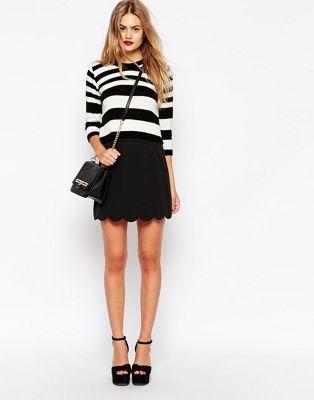 ASOS A-Line Mini Skirt with Scallop Hem