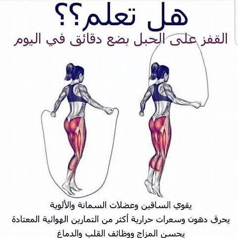 فوائد القفز بالحبل تساعد رياضة نط الحبل على إنقاص الوزن ويكفي أسبوعان لملاحظة الع Gym Workout For Beginners Health Facts Fitness Home Body Weight Workout