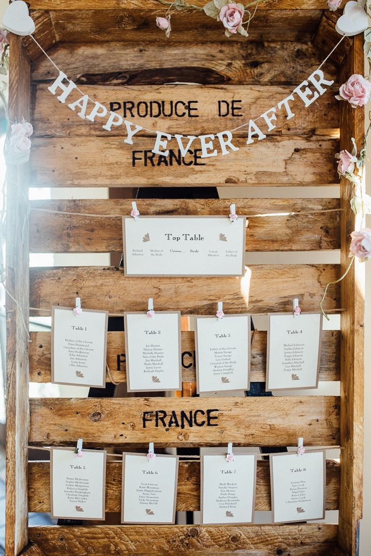 crate pallet table seating plan chart stationery bunting pink winter wonderland wedding http