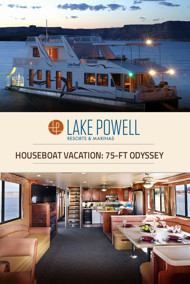 Our largest & most impressive houseboat, the Odyssey Luxury Houseboat boasts 948 sq. feet of cabin space with breathtaking amenities including fireplace, hot tub & more for your Lake Powell houseboat vacation.