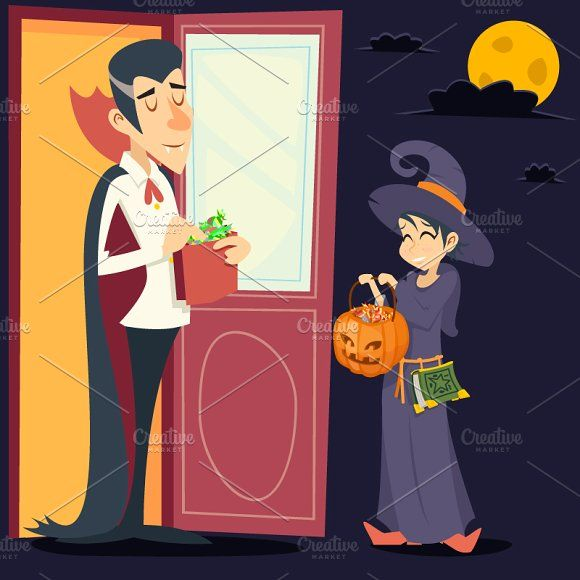 Male Vampire Female Witch Graphics Vintage Happy Smiling Male Vampire Female Witch Halloween Symbol Lifesyle Icon on Stylish Door Backg by Meilun