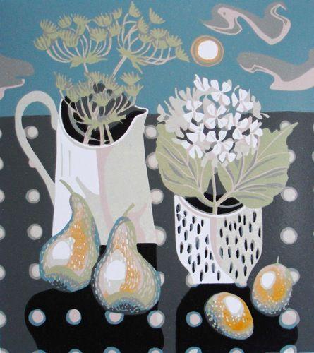 "Jane Walker | ""White jug"" Linocut Edition:14 Image size 255x 285mm"