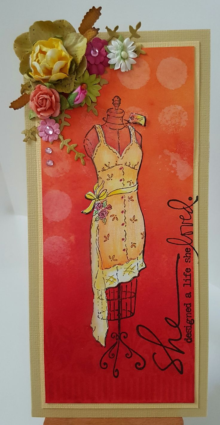 Mannequin E6402 by Impression Obsession; Art Pattern 4206E by Stamp-it; She DD1205A by Unity Stamp Co. Card by Susan of Art Attic Studio
