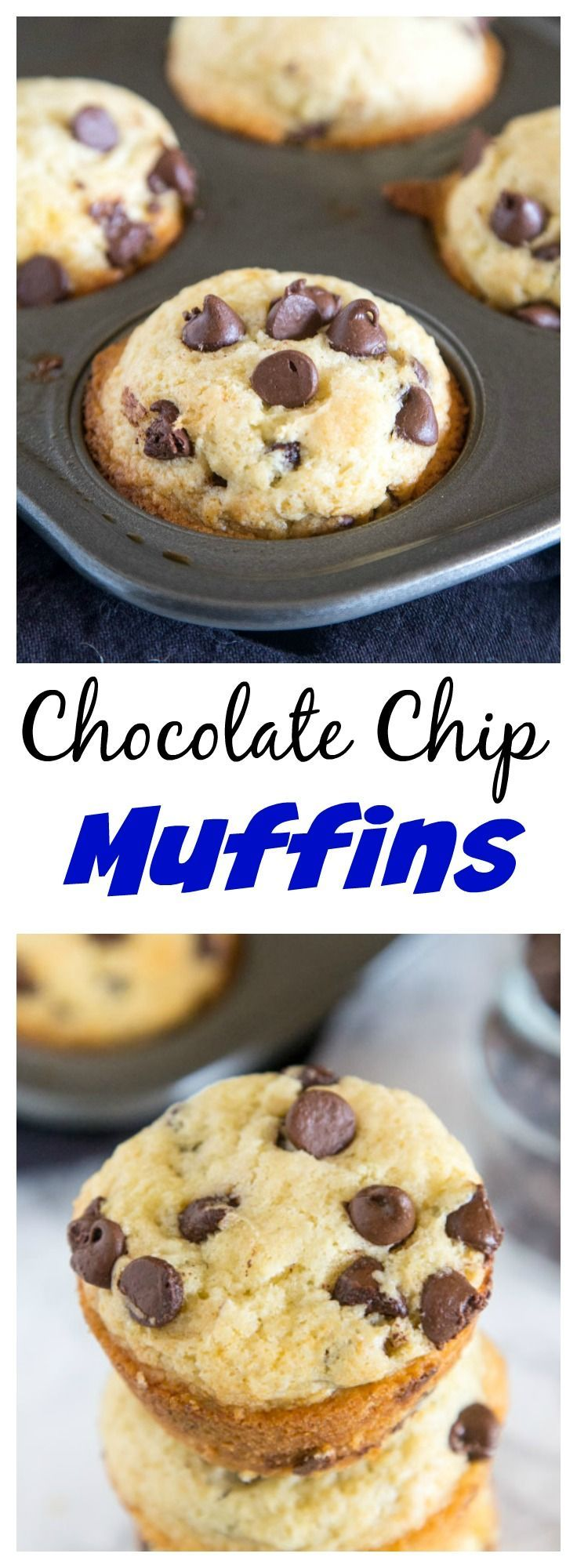 Chocolate Chip Muffins – Light and fluffy muffins with lots of chocolate chips. Great to make and stash in the freezer for quick mornings.