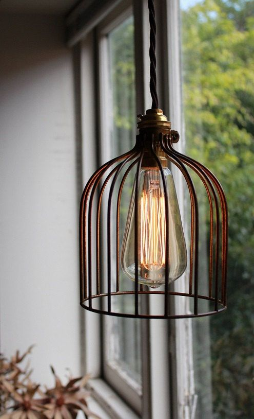Industrial Vintage Style Hanging Wire Cage Light with Textile Cord - available in Black or Bronze