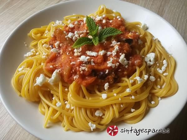 Mediterranean pasta with eggplant, feta cheese and tomato #cooklikegreeks #pasta #eggplant #feta