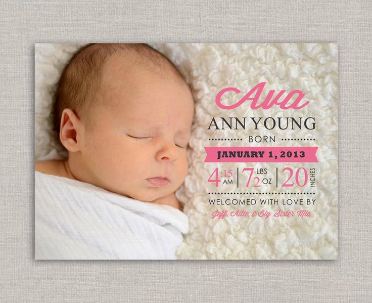 12 best Baby girl birth announcements images – Baby Announcement Cards Etsy