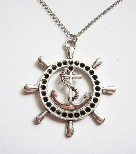 ship wheel necklace nautical jewelry sea necklace by RobertaValle, $13.00