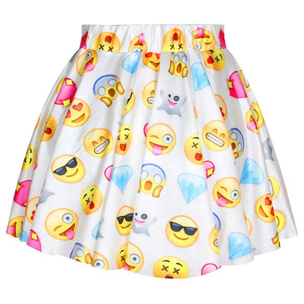 White Womens Cute Emoji Printed Funny Pleated Skirt ($14) ❤ liked on Polyvore featuring skirts, bottoms, jupe, white, white skirt, pink skirt, knee length pleated skirt, pink pleated skirt and pleated skirt