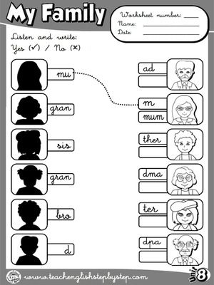 My Family - Worksheet 4 (B&W version)