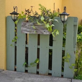 painted pallet fencewall flower box solar lights to hide air conditioner on patioto hide propane tank