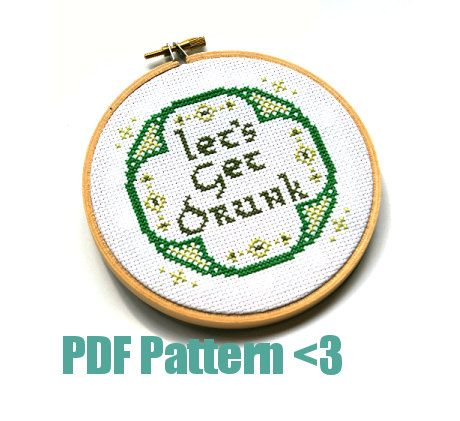Cross Stitch Pattern - Let's Get Drunk! -  How-To Guide