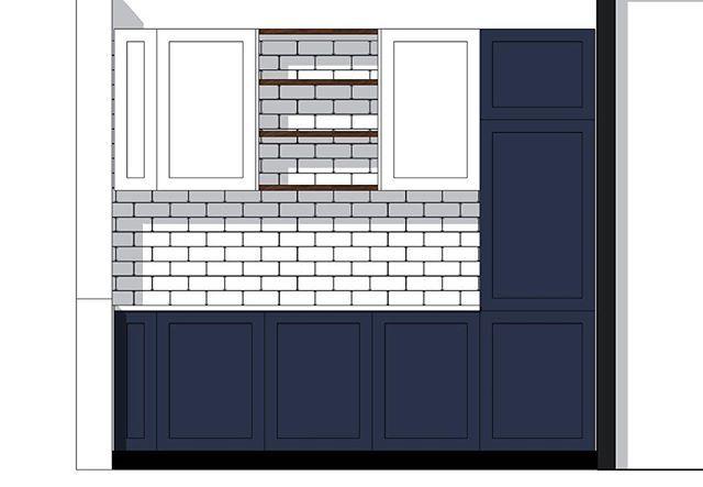 Update keuken tekenen. Door Justus & Tjebbo Interieur. Donkerblauwe frontjes met een wit keramiek of natuursteen blad. Tussen de kastjes erboven Amerikaans noten planken in olie. Op de deurtjes komen messing greepjes. #interieur #interior #wood #design #kitchen #bespokekitchen #brass #messing #biancocarrara #silestone #blue #meubelmaken
