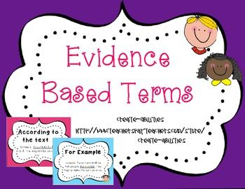 Evidence Based Terms! CCSS: Guided Reading, Literature CirclesThis set contains evidence based terms to use in whole class instruction, guided reading groups, literature circles etc.! The common core is increasing the level of text complexity as well as the level of student's justifications for their answers.