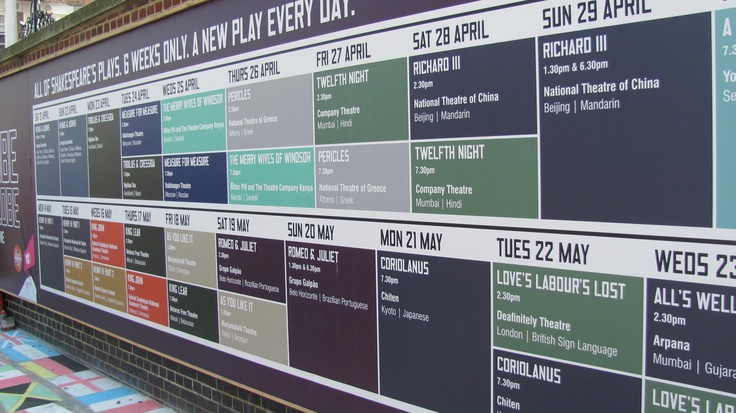 Great design for the schedule of plays outside of The Globe theatre